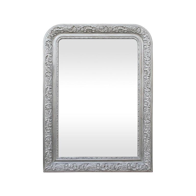 Antique French Wall Mirror, Louis-Philippe Style Silvered Mirror, circa 1900 For Sale