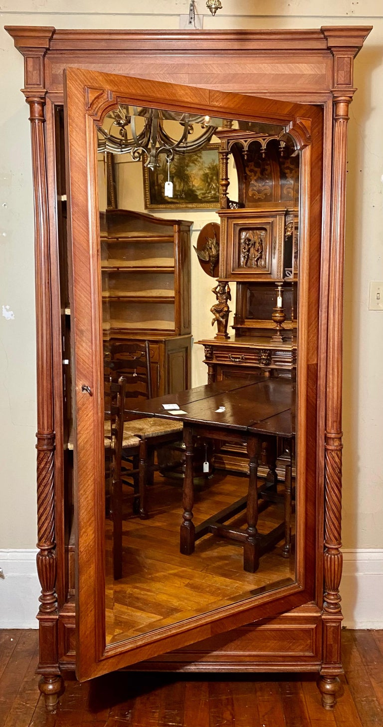 Antique French walnut 19th century armoire.