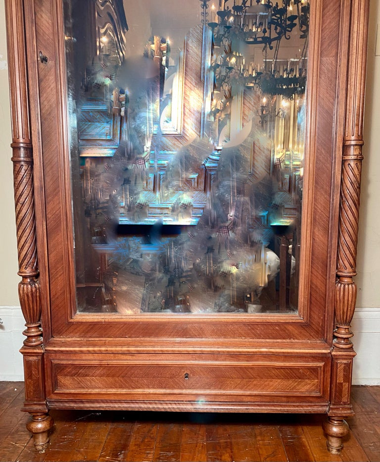 Antique French Walnut 19th Century Armoire In Good Condition For Sale In New Orleans, LA
