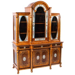 Antique French Walnut and Kingwood Porcelain Mounted Cabinet, 19th Century