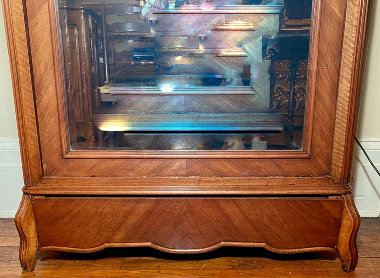 European Antique French Walnut Beveled Mirror Armoire, circa 1900 For Sale