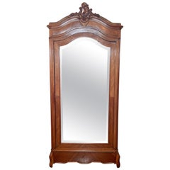Antique French Walnut Beveled Mirror Armoire, circa 1900