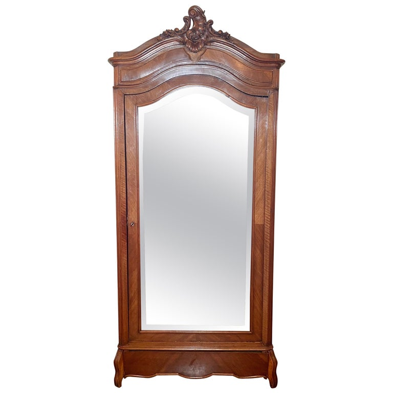 Antique French Walnut Beveled Mirror Armoire, circa 1900 For Sale
