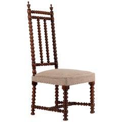 Antique French Walnut Bobbin Side Chair or Nursing Chair, circa 1850