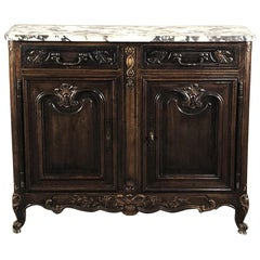 Antique French Walnut Buffet, Louis XV Serpentine with Marble Top