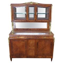 Antique French Walnut Burr Travertine & Bronze Sideboard Server Bar Back Buffet
