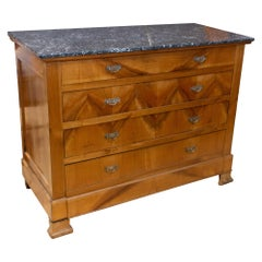 Antique French Walnut Chest of Drawers with Marble Top