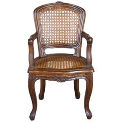 Antique French Walnut Child's Bergere Arm Chair Fauteuil Louis XVI Cane Doll