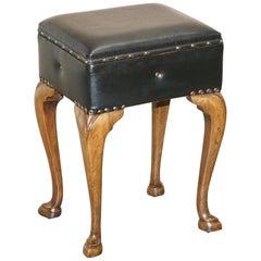 Antique French Walnut circa 1880 Piano Stool with Internal Music Storage