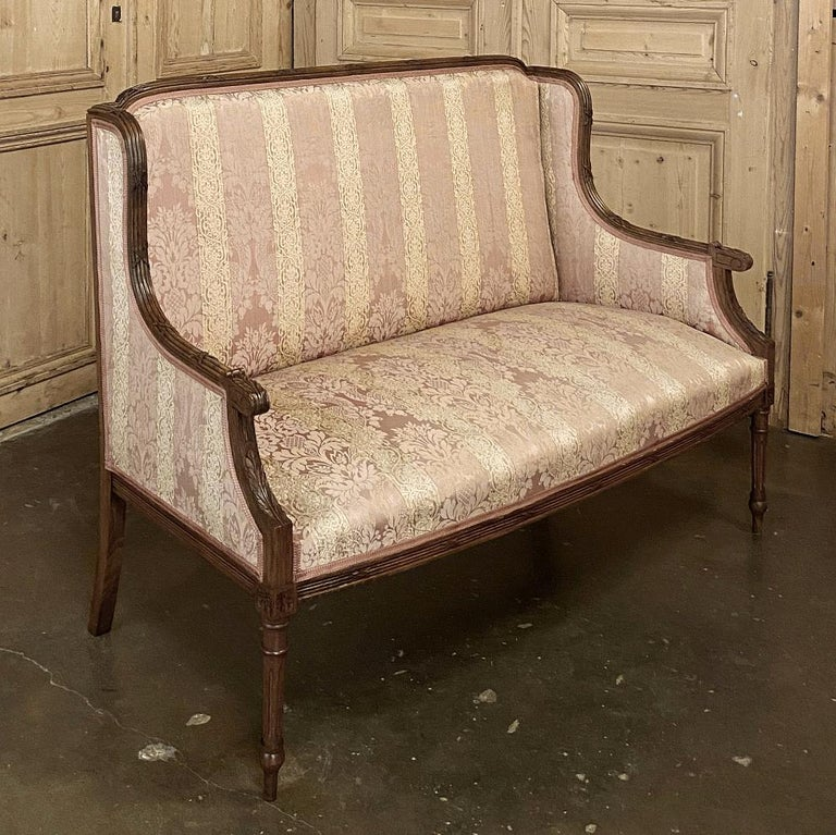 20th Century Antique French Walnut Louis XVI Canape, Sofa For Sale