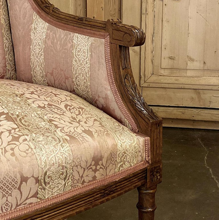 Antique French Walnut Louis XVI Canape, Sofa For Sale 3