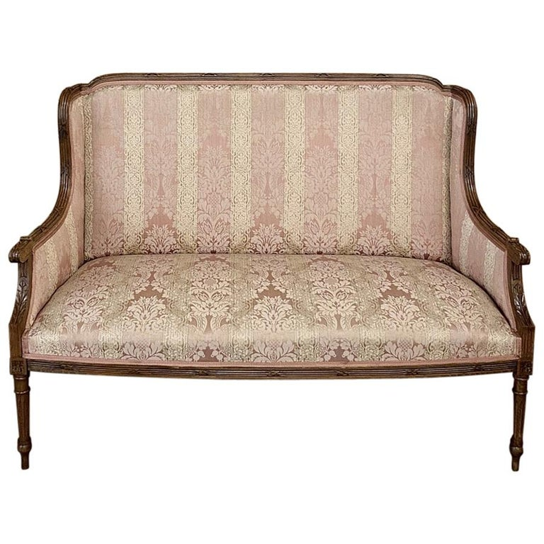 Antique French Walnut Louis XVI Canape, Sofa For Sale