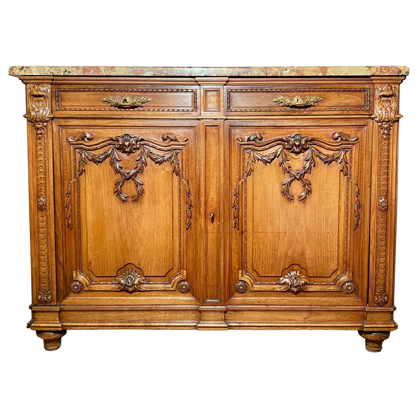 Antique French Walnut Louis XVI Finely Carved Cabinet, circa 1880