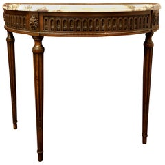 Antique French Walnut Marble-Top Demilune Console, circa 1900