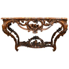 Antique French Walnut Marble-Topped Console