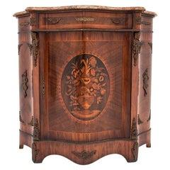 Antique French Walnut Napoleon III Inlaid Cabinet