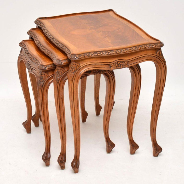 Victorian Antique French Walnut Nest of Tables For Sale
