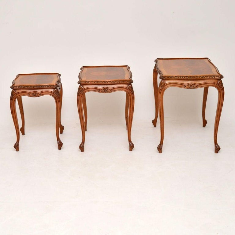 Antique French Walnut Nest of Tables In Good Condition For Sale In London, GB