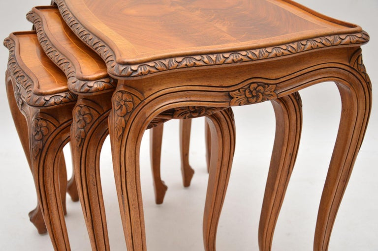 Mid-20th Century Antique French Walnut Nest of Tables For Sale
