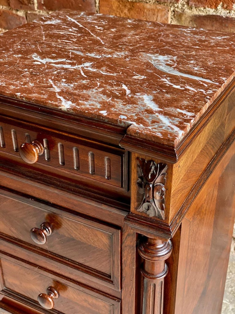 Antique French Walnut Nightstand Bedside Table Side Cabinet Marble, 1890 For Sale 5