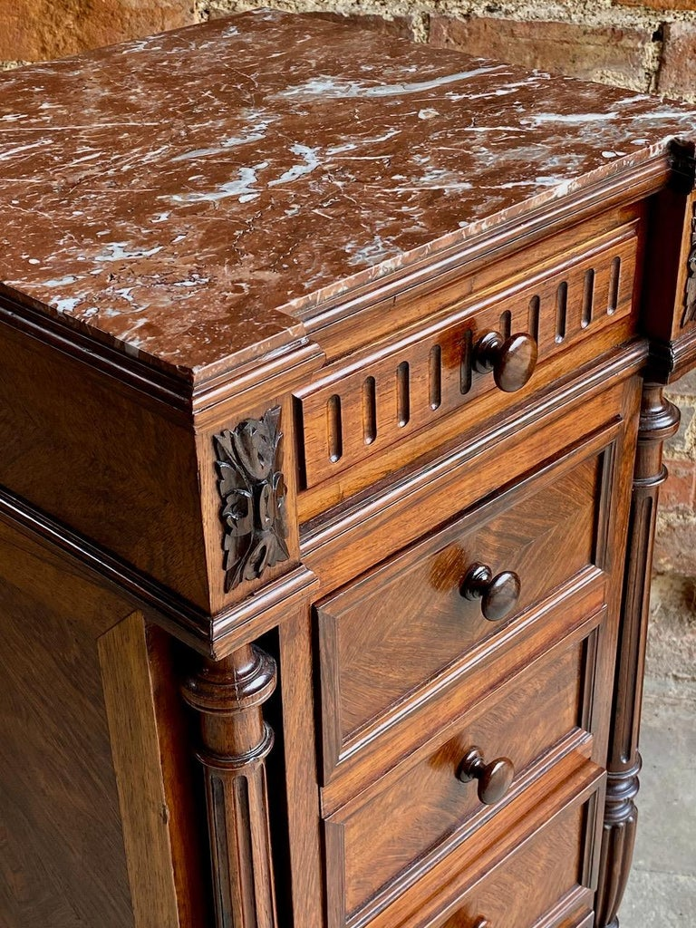 Antique French Walnut Nightstand Bedside Table Side Cabinet Marble, 1890 For Sale 6