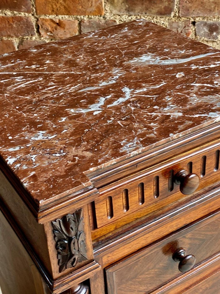 Antique French Walnut Nightstand Bedside Table Side Cabinet Marble, 1890 For Sale 7