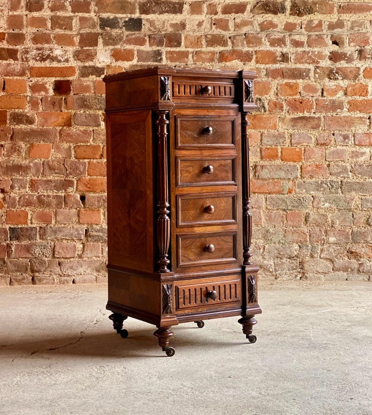 Antique French walnut nightstand bedside table side cabinet marble 1890  This is a 19th century French marble topped Walnut bedside cabinet or nightstand dating to circa 1890, the wonderful mellow tones of the Walnut with a breakfront design with
