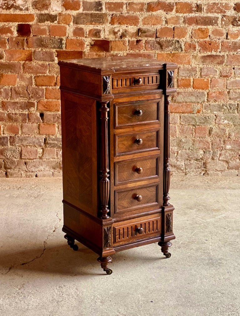 Antique French Walnut Nightstand Bedside Table Side Cabinet Marble, 1890 In Excellent Condition For Sale In Longdon, Tewkesbury