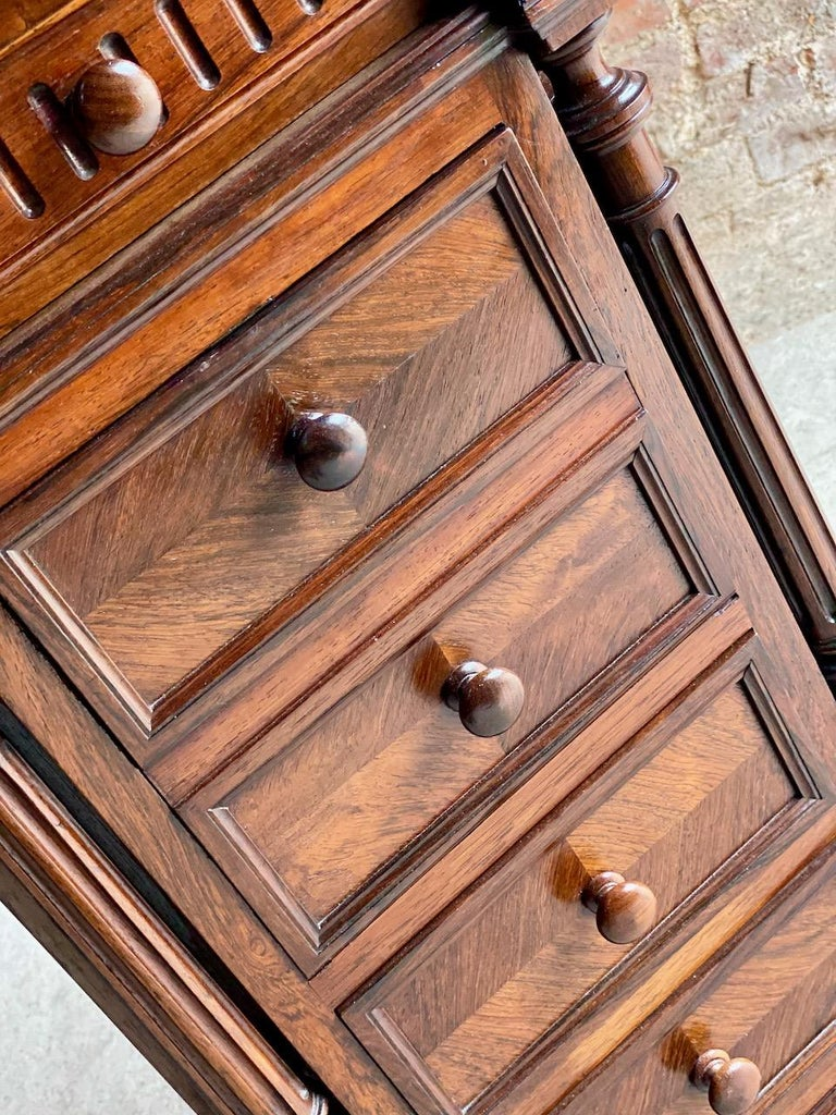 Antique French Walnut Nightstand Bedside Table Side Cabinet Marble, 1890 For Sale 1