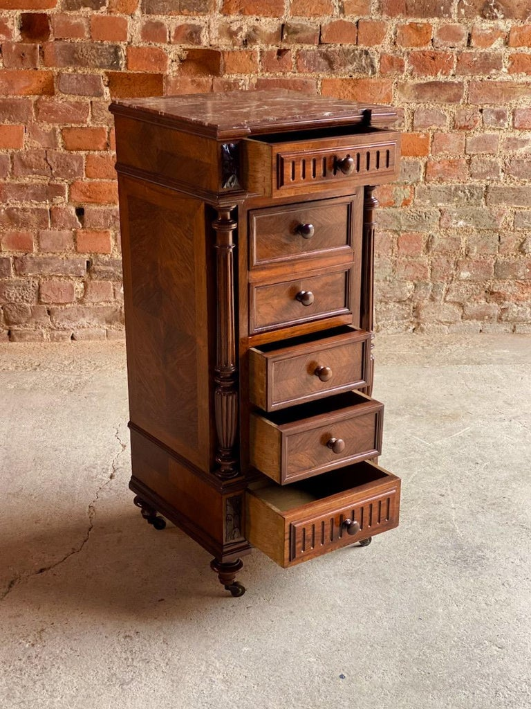Antique French Walnut Nightstand Bedside Table Side Cabinet Marble, 1890 For Sale 2