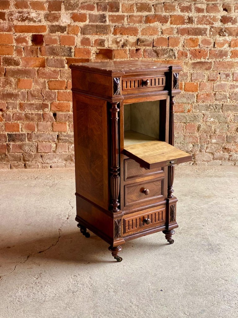 Antique French Walnut Nightstand Bedside Table Side Cabinet Marble, 1890 For Sale 3