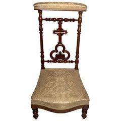 Antique French Walnut Prie Dieu Chair, circa 1870-1880