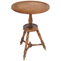 Antique French Walnut Round Petite Drink or Wine Side Table