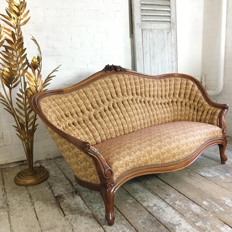 Hand-Carved Antique French Walnut Settee, circa 1890s For Sale