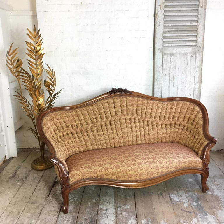 19th Century Antique French Walnut Settee, circa 1890s For Sale