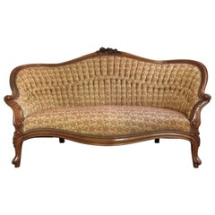Antique French Walnut Settee, circa 1890s