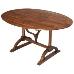 Antique French Walnut Tilt-Top Wine Tasting Table