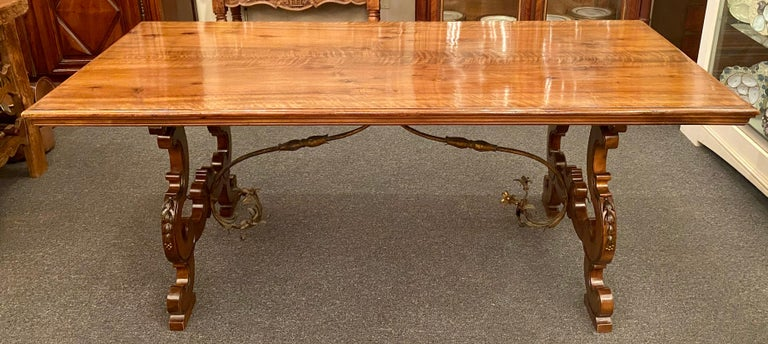 Antique French Walnut Trestle Dining Table with Iron Work Detail circa 1860-1880 In Good Condition For Sale In New Orleans, LA