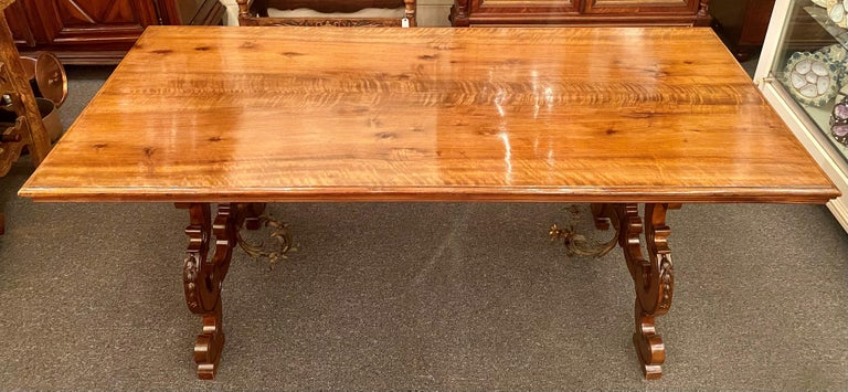 19th Century Antique French Walnut Trestle Dining Table with Iron Work Detail circa 1860-1880 For Sale