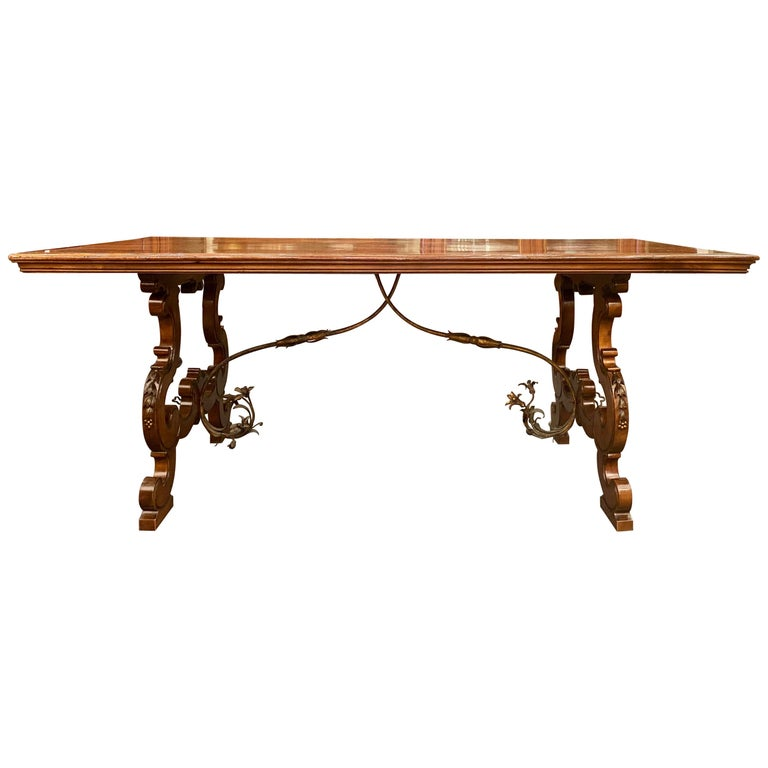 Antique French Walnut Trestle Dining Table with Iron Work Detail circa 1860-1880 For Sale