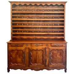 Antique French Walnut Vessalier Cabinet, Boxwood & Satinwood Inlay, circa 1890s