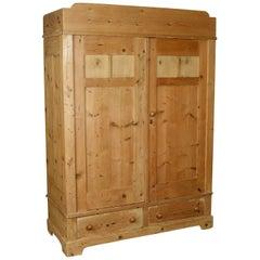 Antique French Wardrobe, Pine Compactum Cupboard, circa 1900
