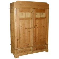 Antique French Wardrobe, Pine Compactum Cupboard, circa 1900