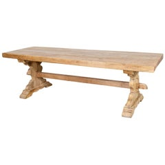 Antique French Washed Oak Normandy Monastery Trestle Table