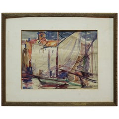 Antique French Watercolor on Paper Harbor Scene by Lars Hoftrup, circa 1920