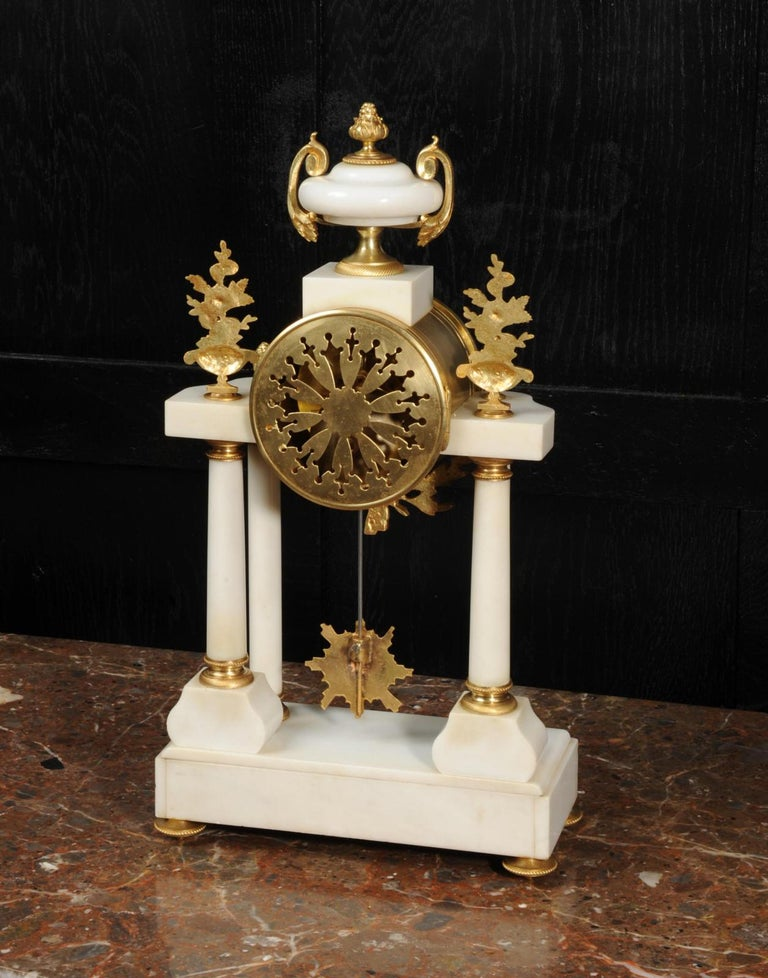 Antique French White Marble and Ormolu Portico Clock For Sale 5