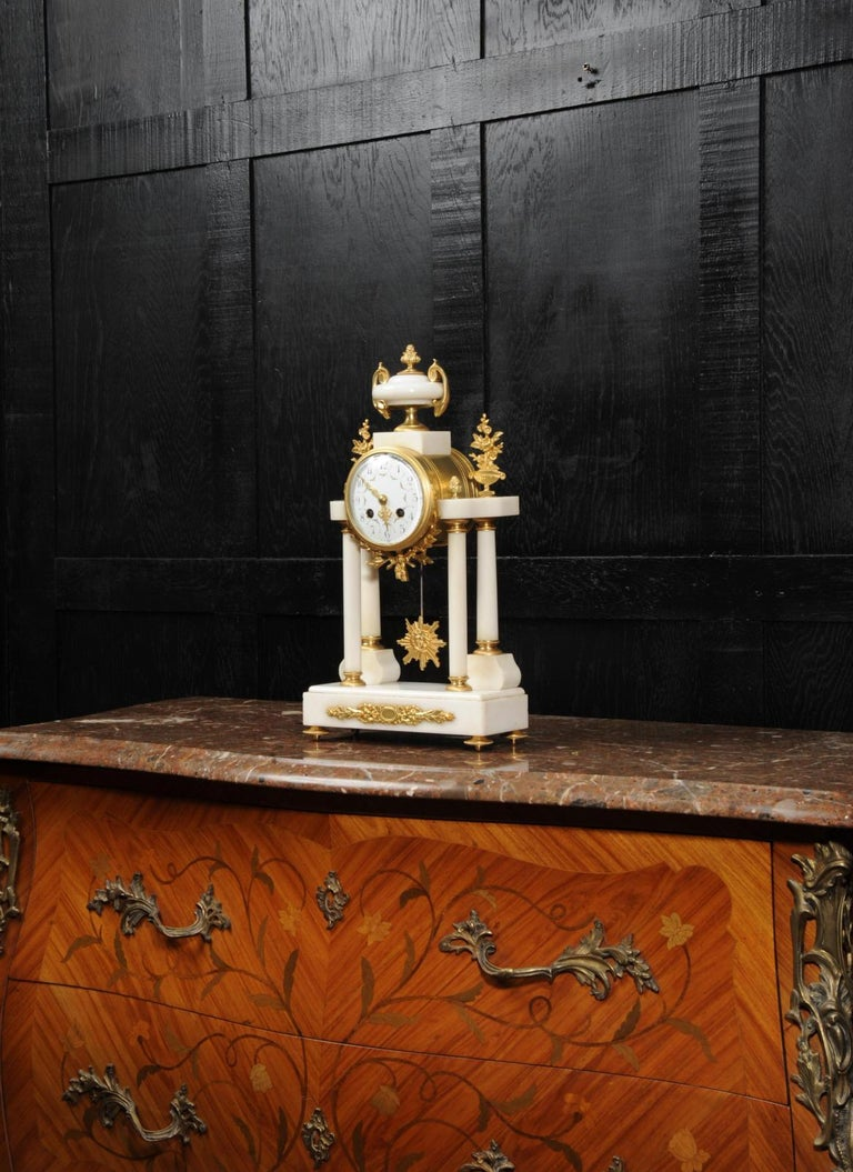 Louis XVI Antique French White Marble and Ormolu Portico Clock For Sale