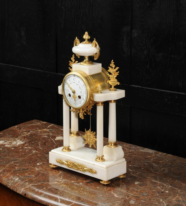 19th Century Antique French White Marble and Ormolu Portico Clock For Sale