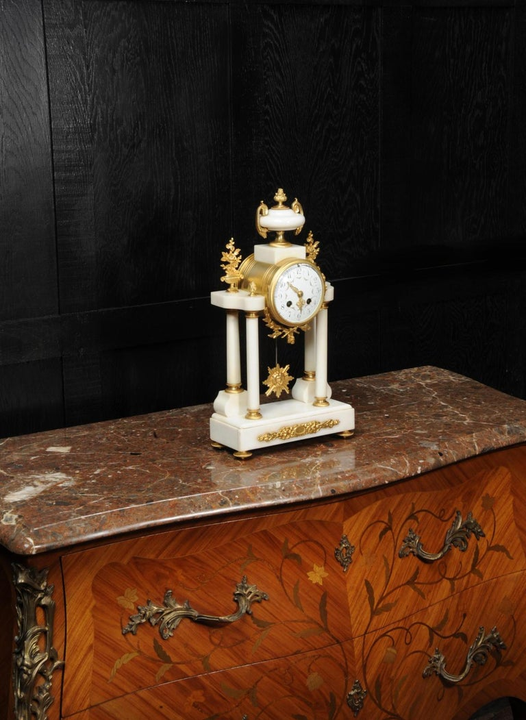 Antique French White Marble and Ormolu Portico Clock For Sale 1