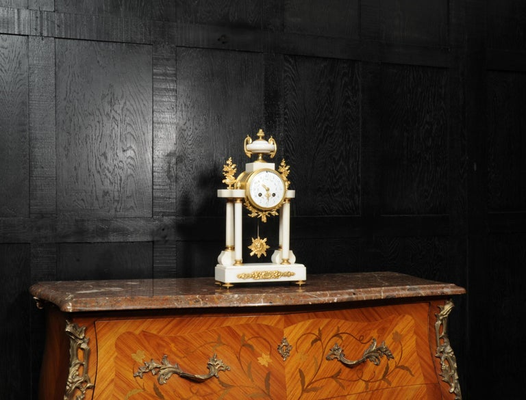 Antique French White Marble and Ormolu Portico Clock For Sale 2
